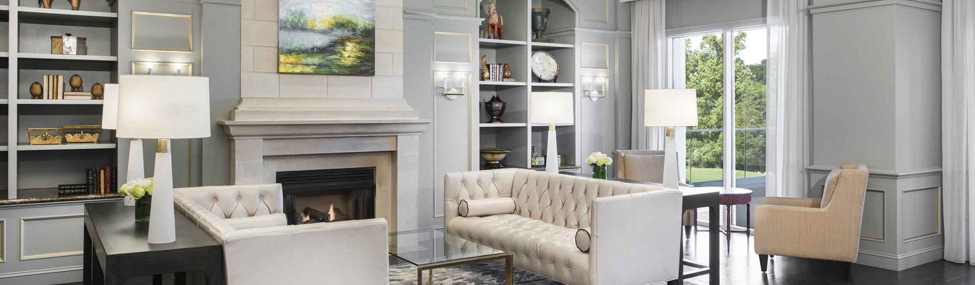 The Ballantyne Charlotte Lobby Fireplace