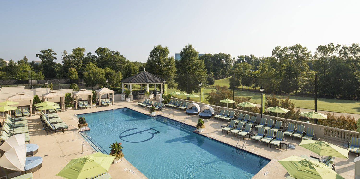 Outdoor Pool, Pool Bar and Cabanas at The Ballantyne, A Luxury Collection Hotel, Charlotte North Carolina | Luxury Hotel | Luxury Resort | Spa | Luxury Pool | Outdoor Pool